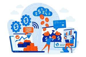 concetto di web design di finanza virtuale con personaggi di persone vettore