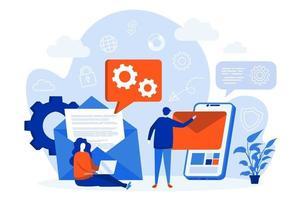 concetto di web di servizio di posta elettronica mobile con personaggi di persone vettore