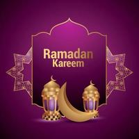 festival islamico della celebrazione del Ramadan Kareem, biglietto di auguri con illustrazione vettoriale di luna d'oro e lanterne