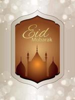 volantino festa di eid mubarak su sfondo creativo vettore