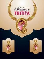 volantino di vendita celebrazione akshaya tritiya con collana vettoriale con orecchini e vaso di monete d'oro