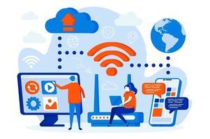 web design di tecnologia wireless con personaggi di persone vettore