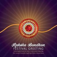 rakhi creativo del festival indiano, biglietto di auguri felice celebrazione di raksha bandhan vettore