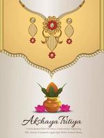 promozione della vendita del festival indiano akshaya tritiya con collana e orecchini dorati creativi vettore