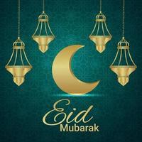 biglietto di auguri di invito eid mubarak o ramadan kareem con falce di luna e lanterne vettore