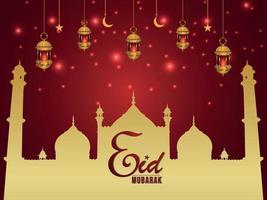 illustrazione vettoriale di biglietto di auguri invito eid mubarak con lanterne dorate creative
