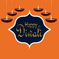 effetto testo dorato di felice cartolina d'auguri di celebrazione di diwali vettore