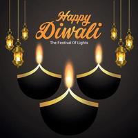 disegno felice dell'invito del festival indiano di diwali con lampada a olio di diya di diwali vettore