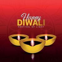 felice diwali celebrazione biglietto di auguri con lampada a olio su sfondo creativo vettore