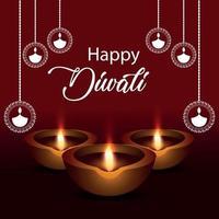 felice diwali celebrazione biglietto di auguri con lampada a olio vettore