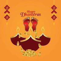 felice celebrazione sfondo dhanteras. dhanteras, il festival dell'india con l'impronta della dea laxmi e monete d'oro vettore
