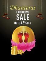 poster di vendita celebrazione dhanteras con illustrazione vettoriale della dea laxmi e monete d'oro