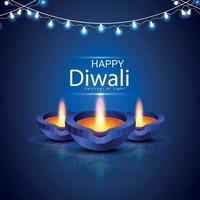 felice diwali festival of light celebrazione biglietto di auguri con creativo diwali diya vettore