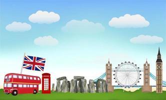viaggio in Inghilterra con punti di riferimento e icone vettore