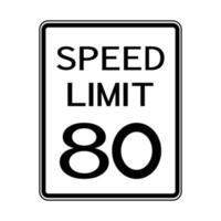 Stati Uniti d'America traffico stradale segno di trasporto limite di velocità 80 vettore