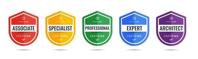 design dello scudo del badge logo certificato per i certificati del badge di formazione aziendale da determinare in base a criteri. set bundle certificare con illustrazione vettoriale di sicurezza colorata.