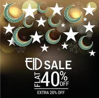 illustrazione di un banner di vendita o un poster di vendita per il festival di eid mubarak. vettore