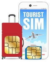 smartphone con borsa per bagagli per sim card turistiche vettore