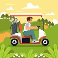 uomo alla guida di golf cart vettore