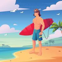 cool surf uomo in spiaggia vettore
