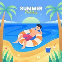 persone che si godono le vacanze estive vettore