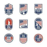 collezione di badge made in usa vettore