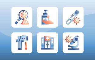 collezione di icone di vaccino covid-19 vettore