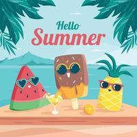 ciao estate con simpatici personaggi del cibo vettore