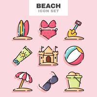 collezione di icone di spiaggia vettore