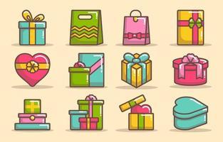 collezione di icone di scatola regalo vettore