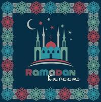 design biglietto di auguri Ramadan con silhouette della moschea e testo elegante vettore