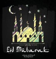 design biglietto di auguri con silhouette della moschea e testo elegante eid mubarak. vettore