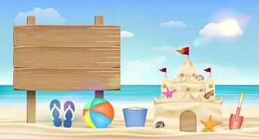 cartello in legno sulla spiaggia di sabbia del mare con castello di sabbia vettore