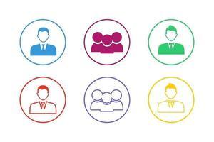 set di icone colorate imprenditore vettore