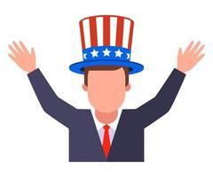 gioiosa stuoia americana in cappello patriottico vettore