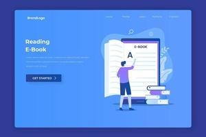 design piatto della lettura di ebook vettore