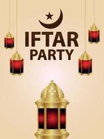 manifesto di celebrazione del partito iftar con illustrazione vettoriale di lanterna e luna araba