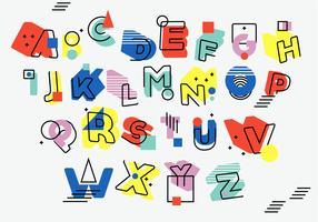 Set vettoriale retrò vintage asimmetrico stile Memphis alfabeto di 3D