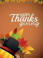 biglietto di auguri invito felice giorno del ringraziamento con foglie di autunno e zucca vettore