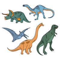 Dinosauri realistici colorati vettore