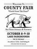 Manifesto dell'annata della fiera del bestiame della contea vettore
