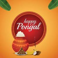 felice pongal south indian festival celebrazione design vettore