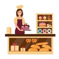 donna panettiera nel negozio di panetteria con torte e pane vettore