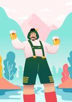 Uomo In Lederhosen Illustration vettore