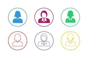 set di icone colorate donna d'affari vettore