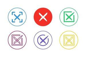 set di icone colorate Annulla vettore