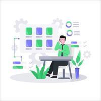 illustrazione vettoriale piatta del concetto di servizio clienti tramite telefono e chat dal vivo