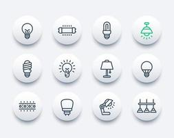 lampadine, lampade e icone vettoriali di linea di illuminazione