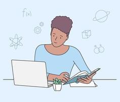 educazione, studio, concetto di apprendimento. ragazza che studia a letto con laptop e libri. computer desktop sul posto di lavoro dello studente che fa i compiti vettore