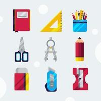 collezione di icone stazionarie della scuola vettore